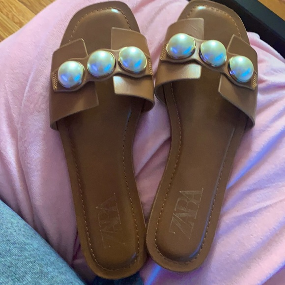 real leather slides from ZARA only wore once